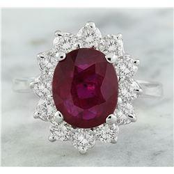 3.35 CTW Ruby 18K White Gold Diamond Ring