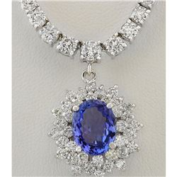 9.43 CTW Natural Tanzanite And Diamond Necklace In 14k White Gold