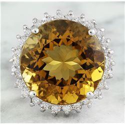 18.40 CTW Citrine 18K White Gold Diamond ring