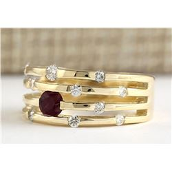 1.00 CTW Natural Ruby And Diamond Ring In 14k Yellow Gold