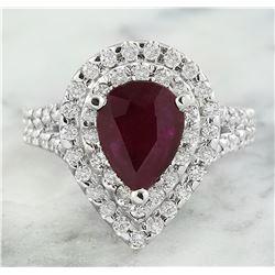 3.30 CTW Ruby 18K White Gold Diamond Ring