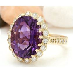 13.19 CTW Natural Amethyst 18K Solid Yellow Gold Diamond Ring
