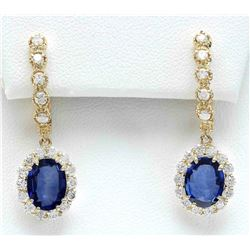 4.77 CTW Natural Sapphire 18K Solid Yellow Gold Diamond Earrings