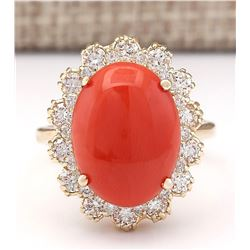 7.98 CTW Natural Coral And Diamond Ring In 14k Yellow Gold