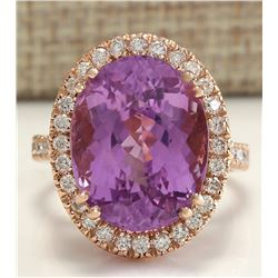 17.68 CTW Natural Kunzite And Diamond Ring 18K Solid Rose Gold