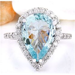 3.82 CTW Natural Aquamarine 18K Solid White Gold Diamond Ring