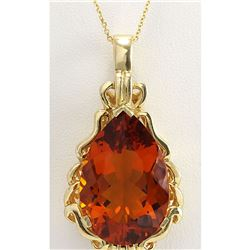 32.00CTW Natural Madeira Citrine Pendant In 18K Solid Yellow Gold