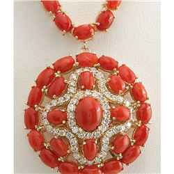 45.00 CTW Natural Red Coral And Diamond Necklace In 18K Yellow Gold