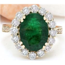 5.30 CTW Natural Emerald 18K Solid Yellow Gold Diamond Ring