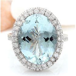 7.5 CTW Natural Aquamarine 18K Solid White Gold Diamond Ring