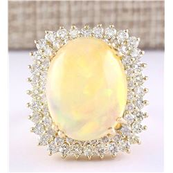 18.25 CTW Natural Opal And Diamond Ring In 18K Yellow Gold