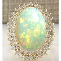 10.38 CTW Natural Opal And Diamond Ring 14K Solid Yellow Gold