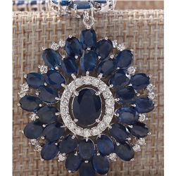 57.19CTW Natural Blue Sapphire And Diamond Necklace In 14K White Gold