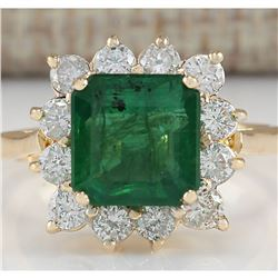 4.40 CTW Natural Emerald And Diamond Ring In 14K Yellow Gold