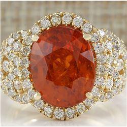 11.31CTW Natural Mandarin Garnet And Diamond Ring In18K Yellow Gold
