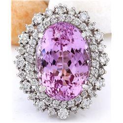 14.61 CTW Natural Kunzite 14K Solid White Gold Diamond Ring