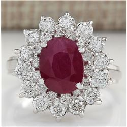 3.73 CTW Natural Ruby And Diamond Ring 18K Solid White Gold