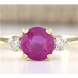 1.40 CTW Natural Pink Sapphire And Diamond Ring In 18K Yellow Gold