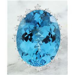 34.12 CTW Topaz 14K White Gold Diamond Ring