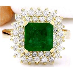 2.90 CTW Natural Emerald 18K Solid Yellow Gold Diamond Ring