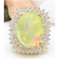 18.25 CTW Natural Opal 18K Solid Yellow Gold Diamond Ring
