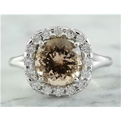 3.70 CTW Morganite 18K White Gold Diamond Ring