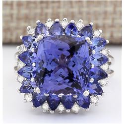 9.14 CTW Natural Blue Tanzanite And Diamond Ring 14k Solid White Gold