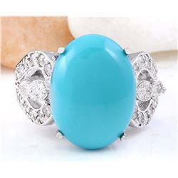 8.75 CTW Natural Turquoise 18K Solid White Gold Diamond Ring