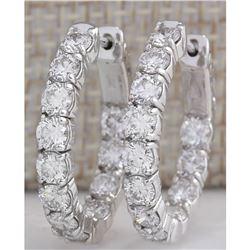 3.48CTW Natural Diamond Hoop Earrings 14K Solid White Gold