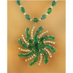 38.50 CTW Emerald 14K Yellow Gold Diamond Necklace