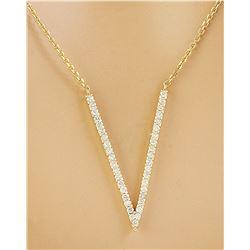 "0.40 CTW Diamond 14K Yellow Gold ""V"" Necklace"