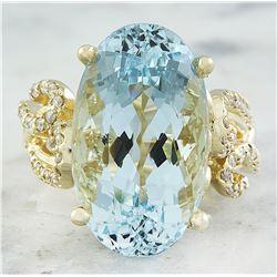 14.25 CTW Aquamarine 14K Yellow Gold Diamond Ring