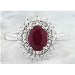 1.93 CTW Ruby 18K White Gold Diamond Ring