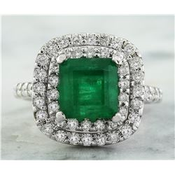 4.10 CTW Emerald 18K White Gold Diamond Ring