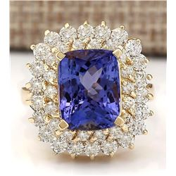 9.30 CTW Natural Tanzanite And Diamond Ring In 18K Yellow Gold