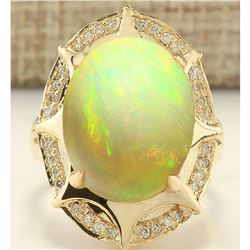 8.77 CTW Natural Opal And Diamond Ring In 18K Yellow Gold
