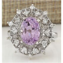 5.01 CTW Natural Kunzite And Diamond Ring In 18K White Gold