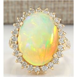 8.88 CTW Natural Opal And Diamond Ring In 18K Yellow Gold