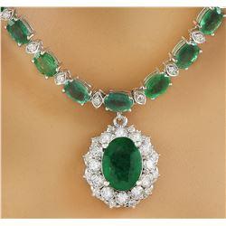 27.16 CTW Emerald 18K Yellow Gold Diamond Necklace