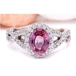 2.40 CTW Natural Sapphire 18K Solid White Gold Diamond Ring