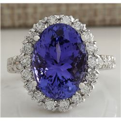 10.46CTW Natural Blue Tanzanite And Diamond Ring In 18K White Gold