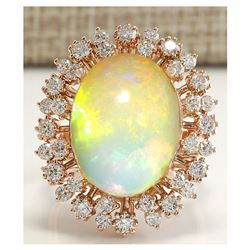 7.99 CTW Natural Opal And Diamond Ring In 18K Rose Gold