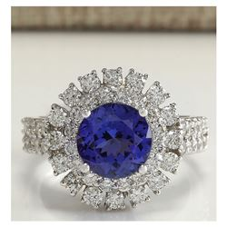 4.03 CTW Natural Blue Tanzanite And Diamond Ring In 18K White Gold