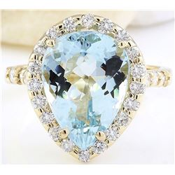 5.40 CTW Natural Aquamarine 14K Solid Yellow Gold Diamond Ring