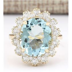 6.73 CTW Natural Blue Aquamarine And Diamond Ring In 18K Yellow Gold