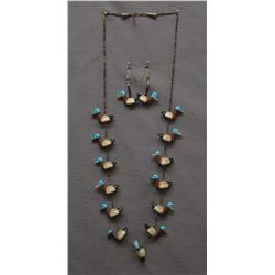 ZUNI INDIAN COWRIE SHELL DUCK  NECKLACE AND EARRINGS
