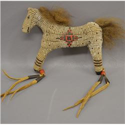 SIOUX INDIAN BEADED UMBILICAL HORSE FETISH