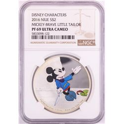 2016 Niue $2 Proof Disney Mickey-Brave Little Tailor Silver Coin NGC PF69 Ultra Cameo