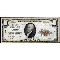 1929 $10 First NB Hartford, CT CH# 121 National Currency Note