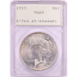 1923 $1 Peace Silver Dollar Coin PCGS MS65 Green Rattler Holder